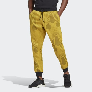 Men Athletics Yellow Jacquard Footwear Pants