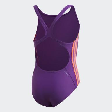 Dievčatá Plávanie fialová Plavky Athly V 3-Stripes