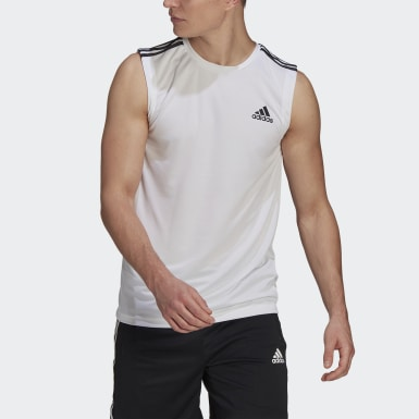 Heren Crosstraining wit AEROREADY Designed To Move Sport 3-Stripes Tanktop