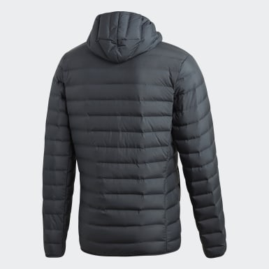 Men Urban Outdoor Grey Varilite Soft Down Hooded Jacket