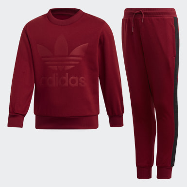 Kids Originals Burgundy Debossed Trefoil Crew Set