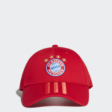 Fußball FC Bayern München 3-Streifen Kappe Rot