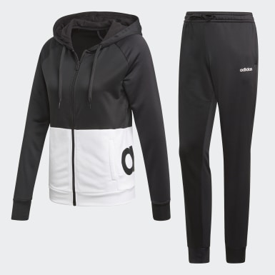 Women Training Black Linear Hoodie French Terry Track Suit