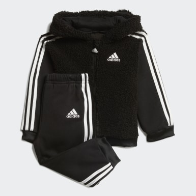 Fur Full-Zip Hooded Jogger Set Czerń