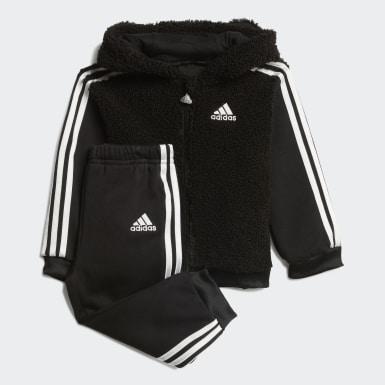 Děti Trénink černá Souprava Fur Full-Zip Hooded Jogger