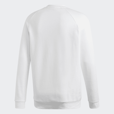 Men Originals White Trefoil Warm-Up Crew Sweatshirt