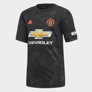 Boys Fodbold Sort Manchester United tredjetrøje
