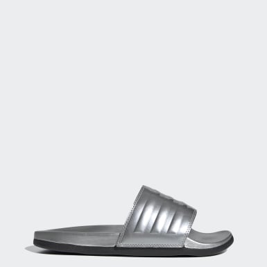 Women Swimming Silver Adilette Comfort Slides