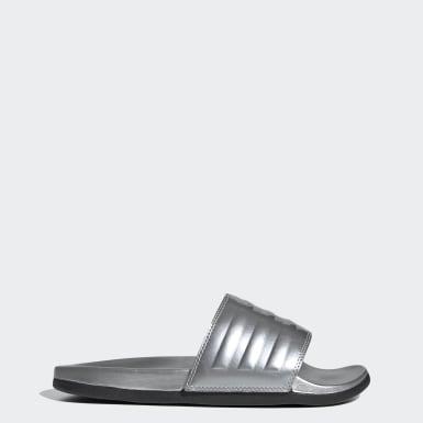 Women Swimming Silver Adilette Comfort Slides