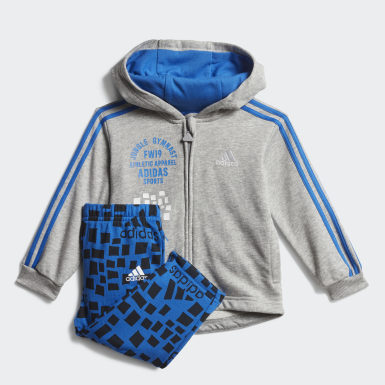 Conjunto Graphic Hooded Jogger Gris Niño Training