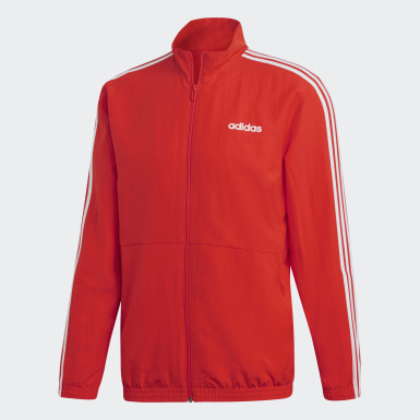 Men Athletics Red 3-Stripes Woven Cuffed Track Suit