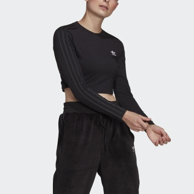 T-shirt Crop Long Sleeve noir Femmes Originals