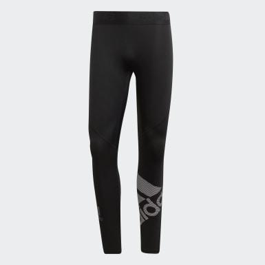 Men's Yoga Black Alphaskin Sport Badge of Sport Long Tights