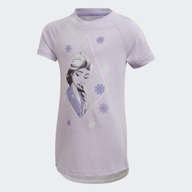 เด็กผู้หญิง เทรนนิง สีม่วง ชุดเสื้อและกางเกงหน้าร้อน Frozen 2