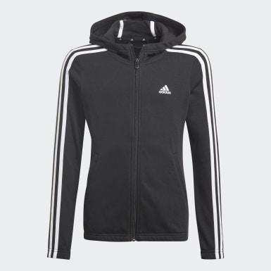 Girls Sport Inspired Black Essentials 3-Stripes Hoodie