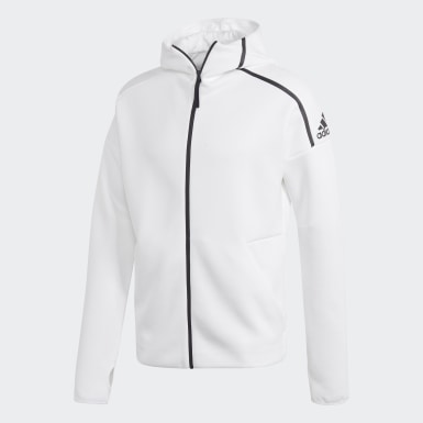 Men Athletics White adidas Z.N.E. Hoodie featuring Fast Release Zipper