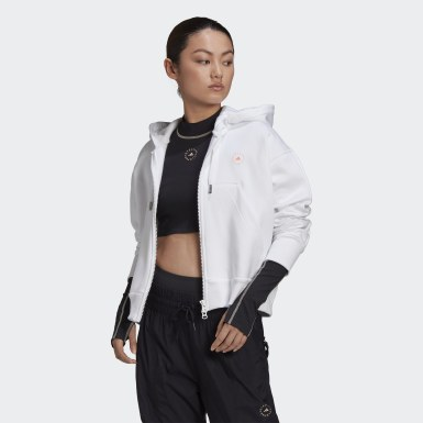 Felpa con cappuccio adidas by Stella McCartney Full-Zip Cropped Bianco Donna adidas by Stella McCartney