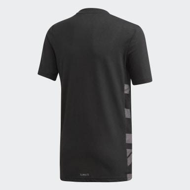 Jungen Tennis Escouade T-Shirt Schwarz