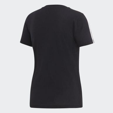 Camiseta Essentials 3-Stripes Preto Mulher Essentials