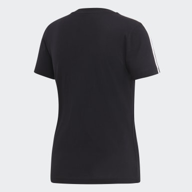 Women Athletics Black Essentials 3-Stripes Tee