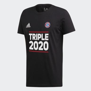 T-shirt Triplete do FC Bayern München Preto Criança Futebol
