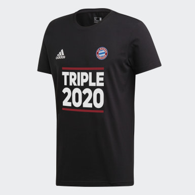 Děti Fotbal černá Tričko FC Bayern Triple Winner