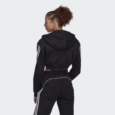 Women Athletics Black Crop Hoodie