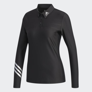 Women Golf Black Long Sleeve Polo Shirt