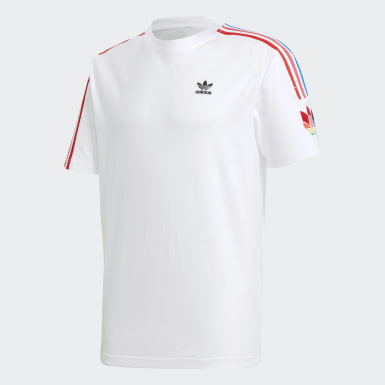 Men Originals White Adicolor 3D Trefoil 3-Stripes Tee
