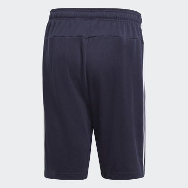 Heren Athletics blauw Essentials 3-Stripes French Terry Short