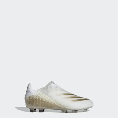 Kids Football White X Ghosted+ Firm Ground Boots