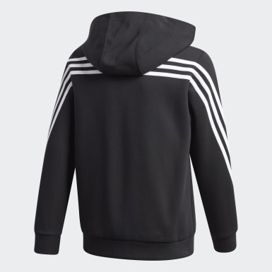 Boys Lifestyle Black 3-Stripes Doubleknit Full-Zip Hoodie