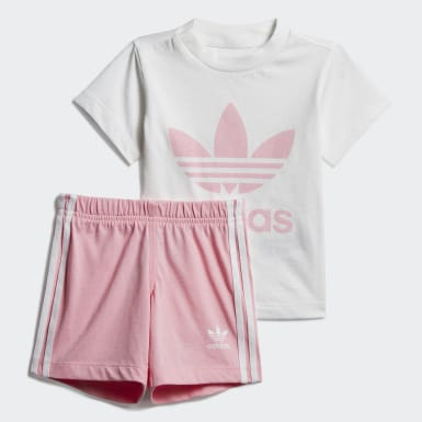 Girls Originals White Trefoil Shorts Tee Set