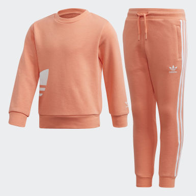 Children Originals Orange Big Trefoil Crew Set