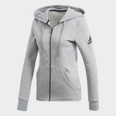 Women Training Grey Essentials Solid Hoodie