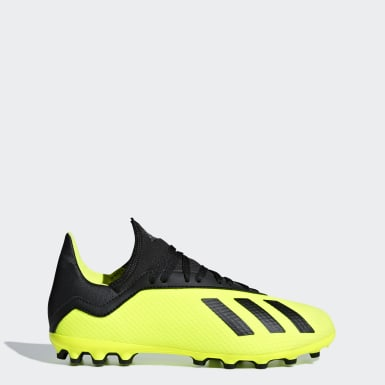 Kids Football Yellow X 18.3 Artificial Grass Boots
