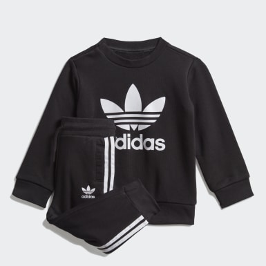 เด็ก Originals สีดำ ชุดเสื้อกันหนาวคอกลมและกางเกงขายาว