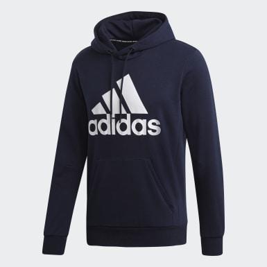 Mænd Athletics Blå Must Haves Badge of Sport hættetrøje