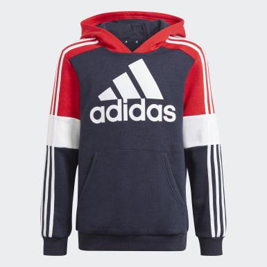 Børn Athletics Blå adidas Essentials Colourblock kønsneutral hættetrøje