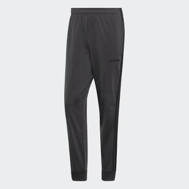 Men Training Grey Essentials 3-Stripes Tapered Tricot Tracksuit Bottoms
