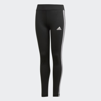 Girls Yoga Black Training Equipment 3-Stripes Leggings