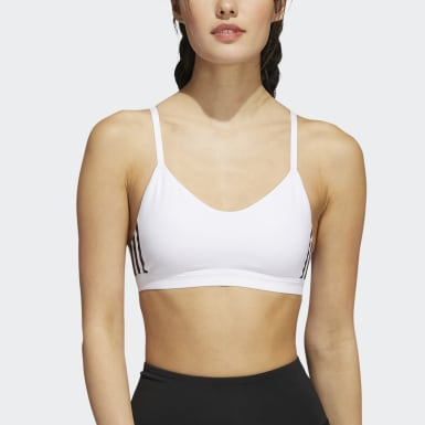 Women Yoga White All Me 3-Stripes Sports Bra