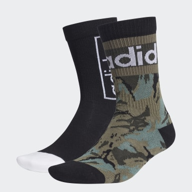 Lifestyle Black Graphic Crew Socks 2 Pairs