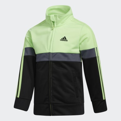 Children Training Green Colorblock Track Jacket and Joggers Set