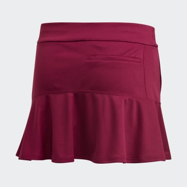 Girls Golf Burgundy Ruffled Skort
