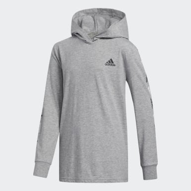 Children Training Grey Heathered Badge of Sport Hooded Tee