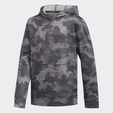 Youth Training Grey Running Camo Pullover Hoodie