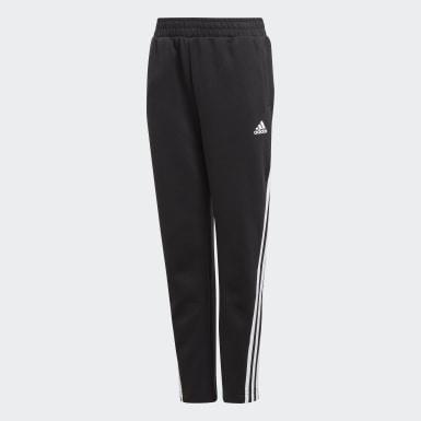 Boys Træning Sort 3-Stripes Doubleknit Tapered Leg bukser