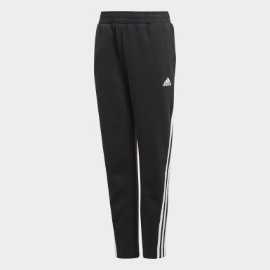Boys Training Black 3-Stripes Doubleknit Tapered Leg Tracksuit Bottoms