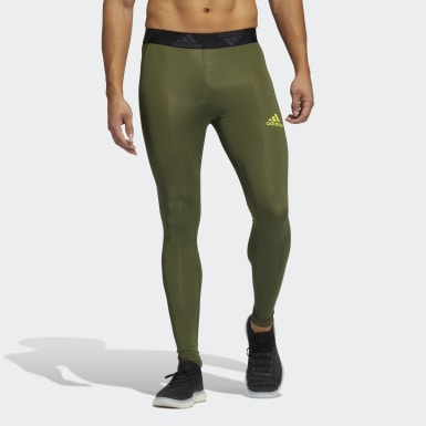 Men Training Green Techfit 3-Stripes Long Tights